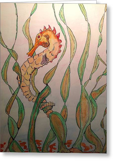 Pen Greeting Cards - Exotic Seahorse of the weeds Greeting Card by Robert Hilger