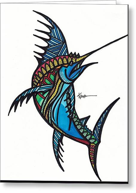 Swordfish Drawings Greeting Cards - Exotic Swordfish Greeting Card by Kayla Roeber