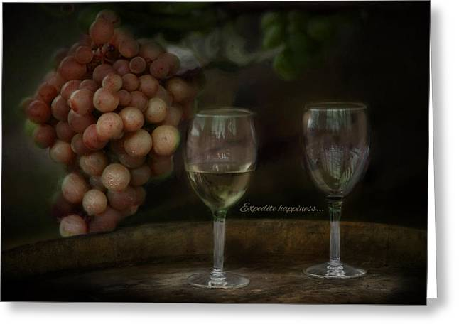 Wine Grapes Greeting Cards - Expedite Happiness Greeting Card by Robin-lee Vieira