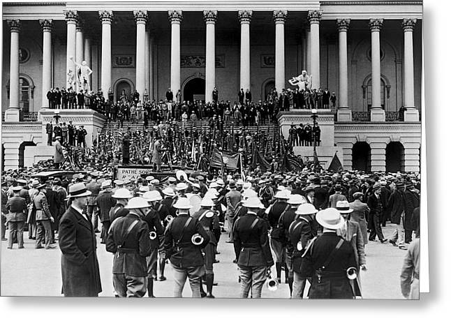 Expeditionary Force At Capitol Greeting Card by Underwood Archives