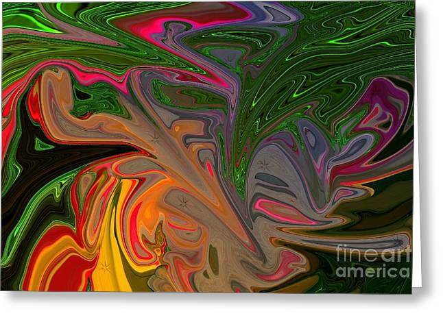 Green Abstract Greeting Cards - Experiment # 2 Greeting Card by Geraldine DeBoer