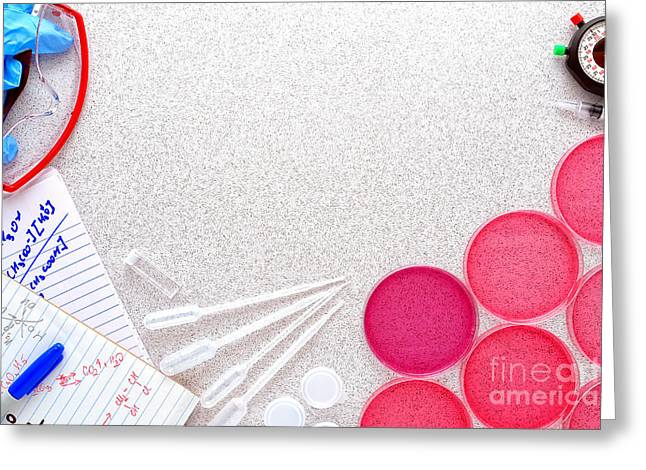 Process Greeting Cards - Experiment in Science Research Lab Greeting Card by Olivier Le Queinec