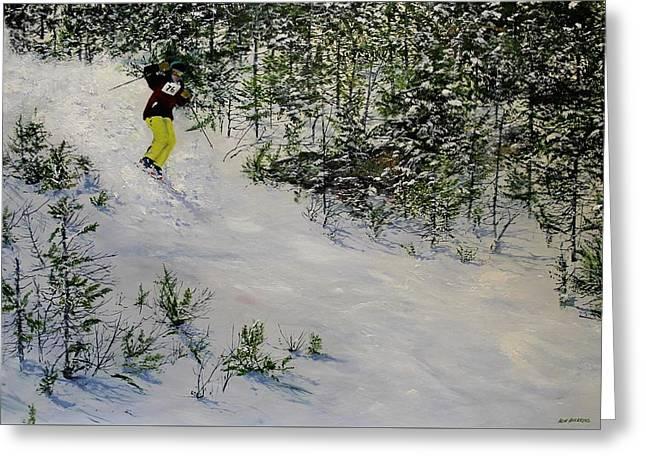 Expert Skier Greeting Card by Ken Ahlering