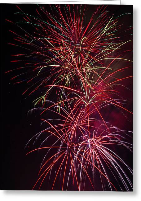 Exploding Festive Fireworks Greeting Card by Garry Gay