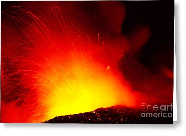 Exploding Lava At Night Greeting Card by Peter French - Printscapes