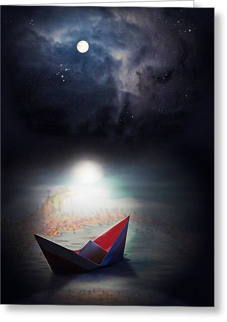 Paper Moon Greeting Cards - Exploration Greeting Card by Maggie Terlecki