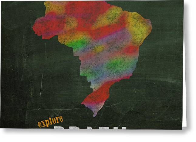 Hand Drawn Mixed Media Greeting Cards - Explore Brazil Map Hand Drawn Country Illustration on Chalkboard Vintage Travel Promotional Poster Greeting Card by Design Turnpike