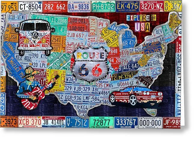Old Map Mixed Media Greeting Cards - Explore the USA License Plate Art and Map Travel Collage Greeting Card by Design Turnpike