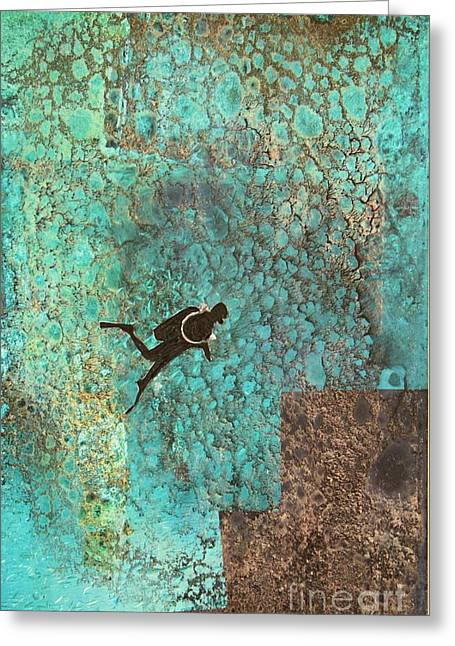 Scuba Diving Mixed Media Greeting Cards - Exploring Atlantis 1 Greeting Card by Mary Chris Hines