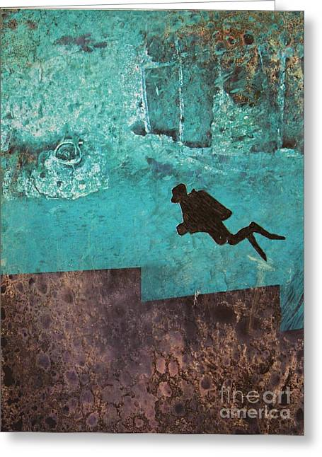 Scuba Diving Mixed Media Greeting Cards - Exploring Atlantis 2 Greeting Card by Mary Chris Hines
