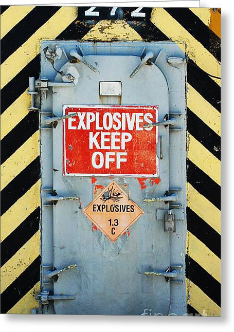 Portal Greeting Cards - Explosives Door Keep Out Greeting Card by ArtyZen Studios - ArtyZen Home