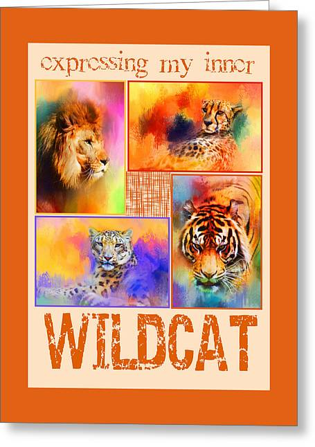 Express Greeting Cards - Expressing My Inner Wildcat Greeting Card by Jai Johnson