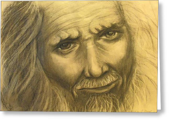 Indigenous Drawings Greeting Cards - Expression Of An Elder Greeting Card by Linda Nielsen
