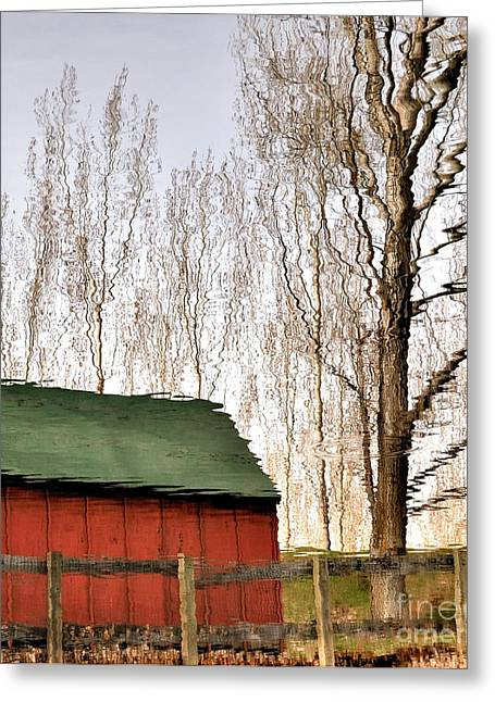 Red Roofed Barn Greeting Cards - Expressionism Reflected Greeting Card by Steven Milner