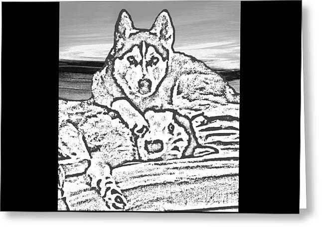 Expressive Huskies Mixed Media G51816_e Greeting Card by Mas Art Studio