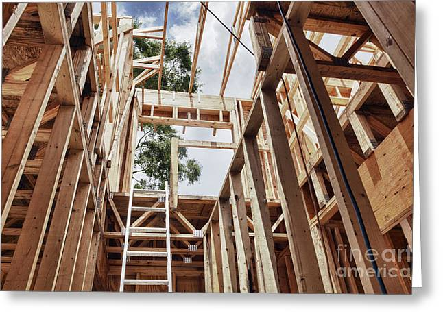Florida House Greeting Cards - Extension Ladder and Framing Greeting Card by Skip Nall