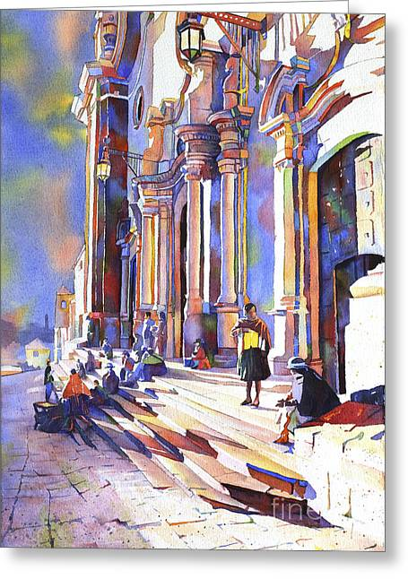 Church Painter Greeting Cards - Exterior of Cathedral in the colonial mining town of Potosi in the Bolivian altiplano Potosi Boliv Greeting Card by Ryan Fox