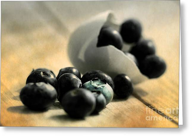Harvest Time Greeting Cards - Extravagant kitchen bluebeeries Still life Greeting Card by Tanja Riedel