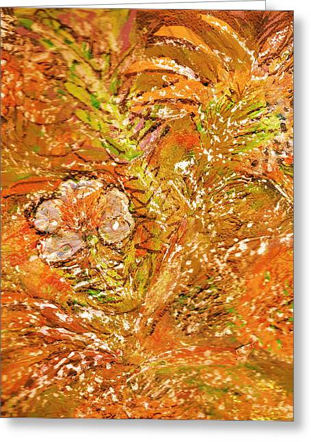 Extravaganza Orange Greeting Card by Anne-Elizabeth Whiteway