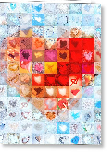 Grid Of Heart Photos Digital Greeting Cards - Extreme Makeover Home Edition Katrinas Heart Two Greeting Card by Boy Sees Hearts