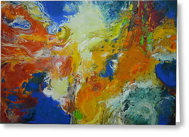 Abstract Expressionist Greeting Cards - Exuberance ll Greeting Card by Christopher Chua