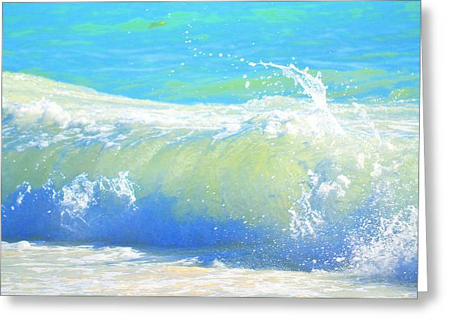 Blue Green Wave Greeting Cards - Exuberance Greeting Card by Mary Chant