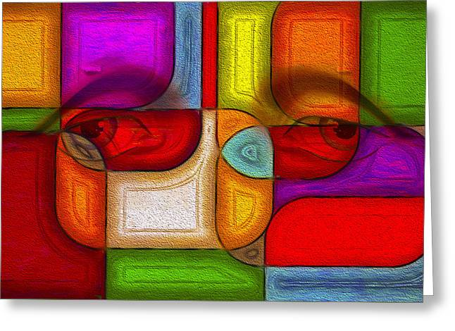Abstract Shapes Greeting Cards - Eye Abstract Greeting Card by Rick Baker