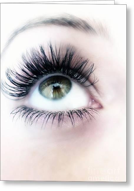 Eyelash Greeting Cards - Eye and long eyelashes Greeting Card by Alison Burford