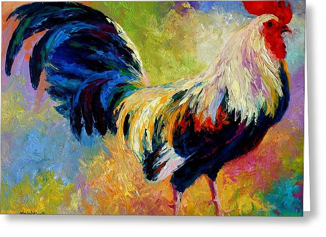 Eye Candy - Rooster Greeting Card by Marion Rose