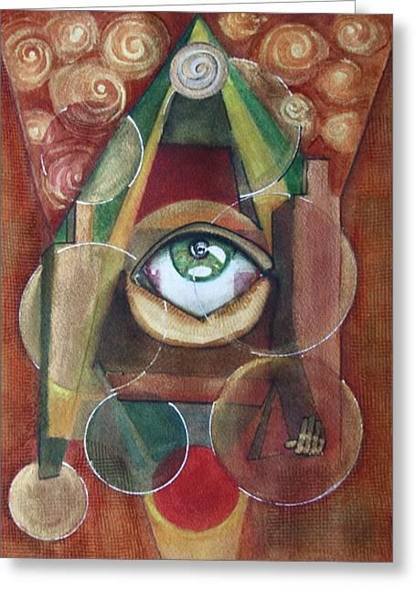 Nostradamus Greeting Cards - Eye-conographic Greeting Card by Dan Earle