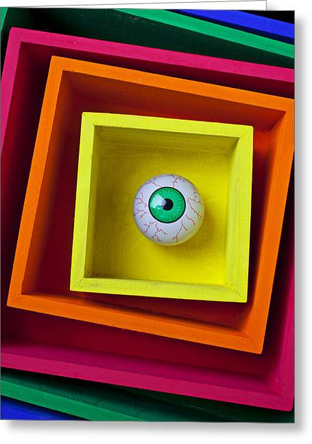 Sight See Greeting Cards - Eye In The Box Greeting Card by Garry Gay