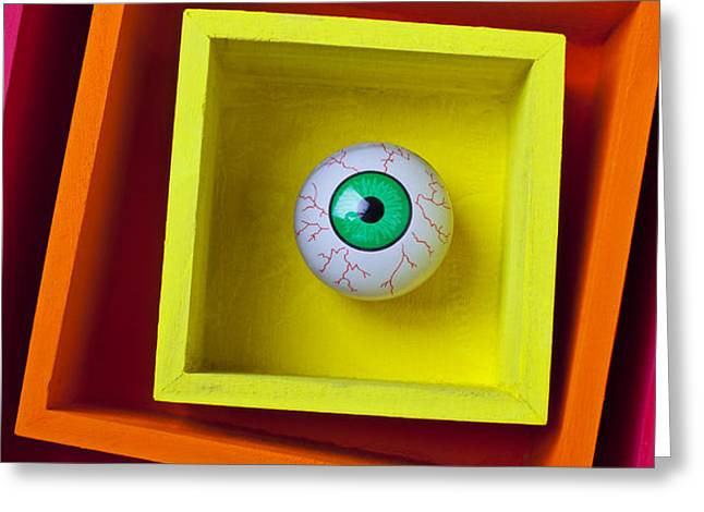 Eye In The Box Greeting Card by Garry Gay