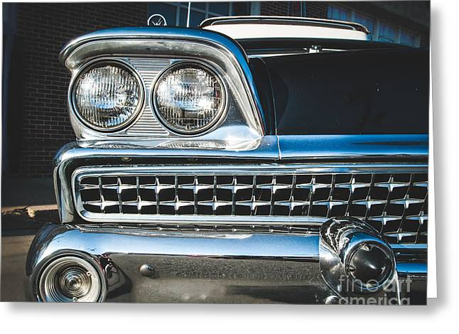 Eye Of A Ford Fairlane Greeting Card by Sonja Quintero