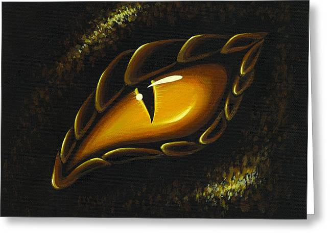 Dragons Greeting Cards - Eye Of Golden Embers Greeting Card by Elaina  Wagner