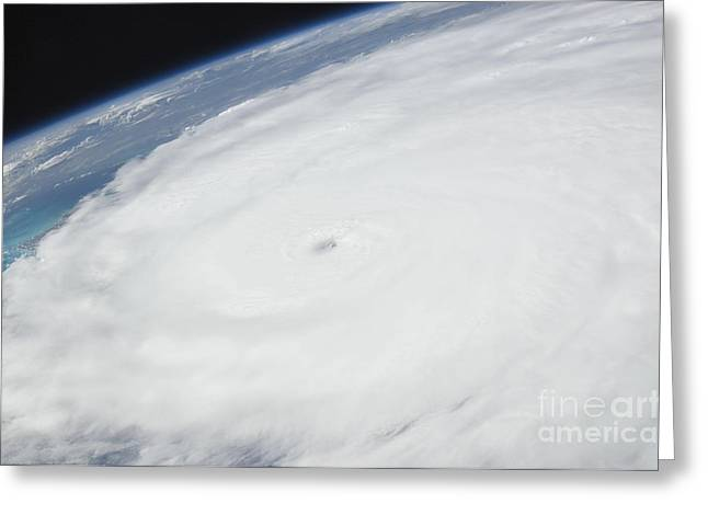 Natural Disaster Greeting Cards - Eye Of Hurricane Irene As Viewed Greeting Card by Stocktrek Images