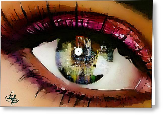 Eyebrow Greeting Cards - Eye Of The City Greeting Card by Lynda Payton