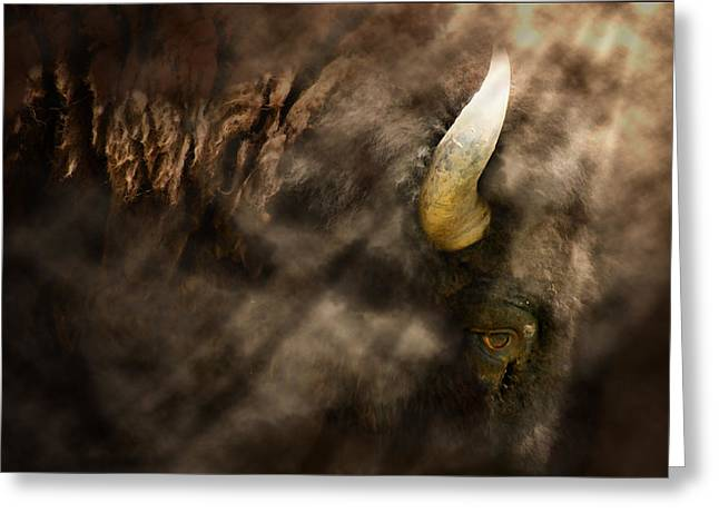 Horned Animals Greeting Cards - Eye of the Hunted Greeting Card by Barbara  White