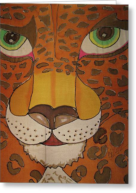 Jaguars Tapestries - Textiles Greeting Cards - Eye of the Jaguar Greeting Card by Kelly     ZumBerge