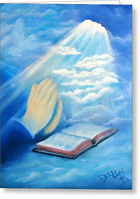 Praying Hands Greeting Cards - Eye of The Lord Greeting Card by Darlene Richardson