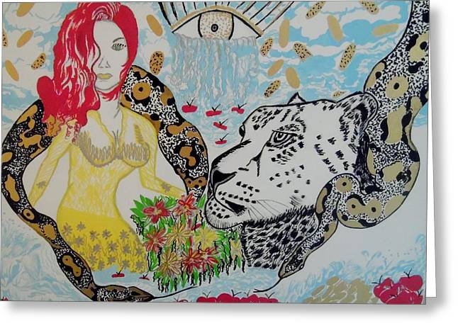 Coins Greeting Cards - Eye of the Snow Leopard Greeting Card by Nicole Burrell