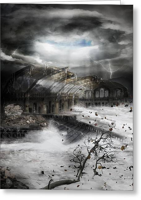 Storm Digital Art Greeting Cards - Eye of the Storm Greeting Card by Karen H