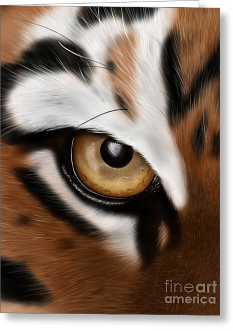 The Tiger Greeting Cards - Eye of The Tiger Greeting Card by Lee Ellett