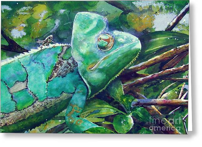 Grasshopper Paintings Greeting Cards - Eye on the Prize Greeting Card by Linda Halom