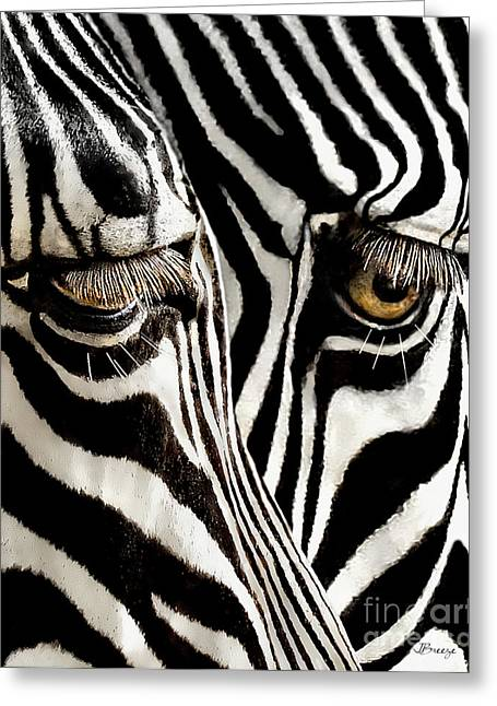 Eyelash Greeting Cards - Eyes and Stripes Forever Greeting Card by Jennie Breeze