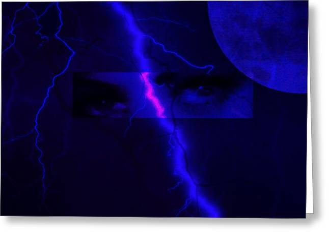 Lightning Strike Mixed Media Greeting Cards - Eyes of the storm Greeting Card by Frances Lewis