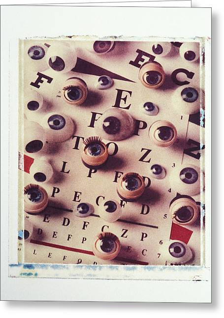 Sight See Greeting Cards - Eyes on eye chart Greeting Card by Garry Gay