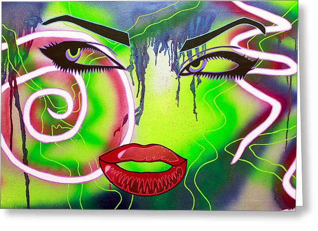 Eyes That Could Kill Greeting Card by Bobby Zeik
