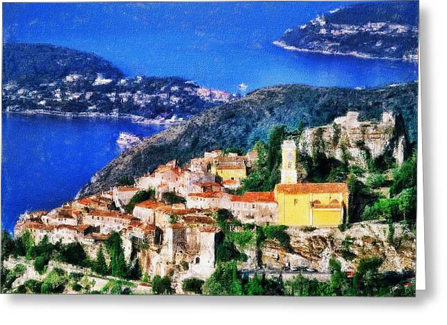 Recently Sold -  - Ocean Panorama Greeting Cards - Eze and Cap Ferrat Greeting Card by Dean Wittle