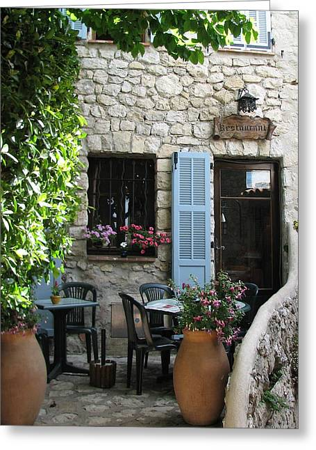 Provence Village Greeting Cards - Eze Cobblestone Patio Greeting Card by Carla Parris