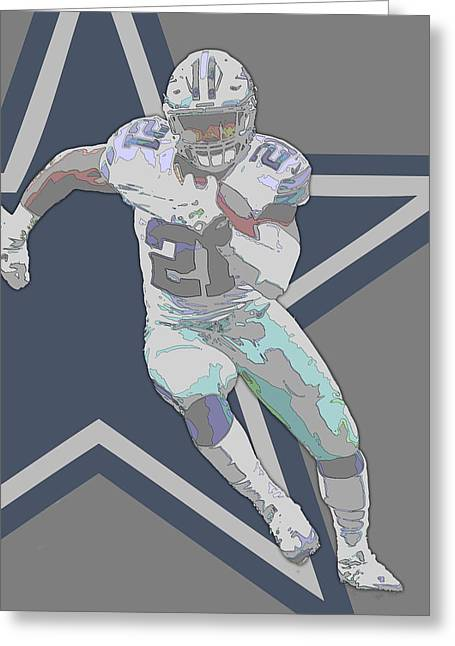 Ezekiel Elliott Dallas Cowboys Contour Art Greeting Card by Joe Hamilton